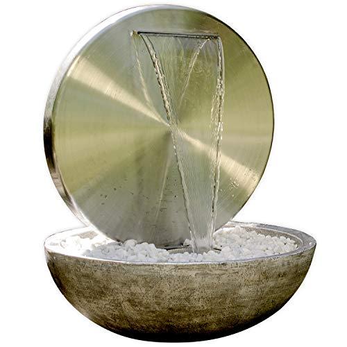 """Köhko Wasserwand Ø 55 cm mit Einer Halbschale in Natursteinoptik mit LED- Beleuchtung """"Bocca"""" 22011 aus matt gebürsteten Edelstahl mit Becken aus..."""
