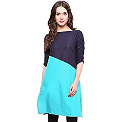 Varibha® Black & Tork Blue Cotton Free Size Plain Kurti For Women / Girl | Low Price Kurti Below 300 | Best Deal Of The Day | Best Offer Of The Day | diwali offers for women dresses | diwali offer 2017 | today best offers