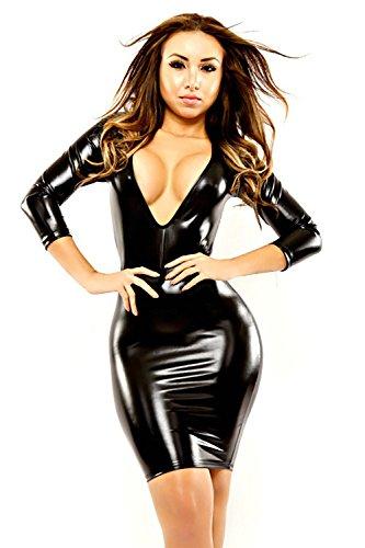 RUISISANLI Heißer Sexy PVC Leder Kleid Frauen Mesh V-Ausschnitt Backless Clubwear Zurück Mini Kleid Sexy Kostüm, XL