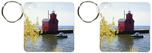 3dRose Holland Harbor Lighthouse at Holland, Michigan - US23 DFR0047 - David R. Frazier - Key Chains, 2.25 x 4.5 inches, set of 2 (kc_91178_1)