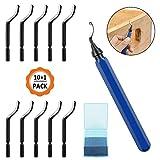 Dadabig 1 Set di Sbavatura a Mano con 10 BS1010 Lame e 1 BS1010 Manico Blu Sbavatore Metallo Rotanti a 360° Rotazione per Stampe 3D Tubi Plastica Metallo