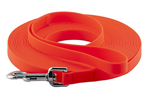 LENNIE Easycare Schleppleine 12 mm, 5-15 Meter (5 m), Neon-Orange, mit Handschlaufe, robust und pflegeleicht durch wasserfeste Ummantelung, Made in Germany