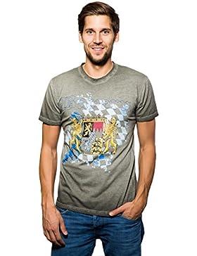 Krüger - Herren Trachten T-Shirt, Bayern Grau (92211-7)