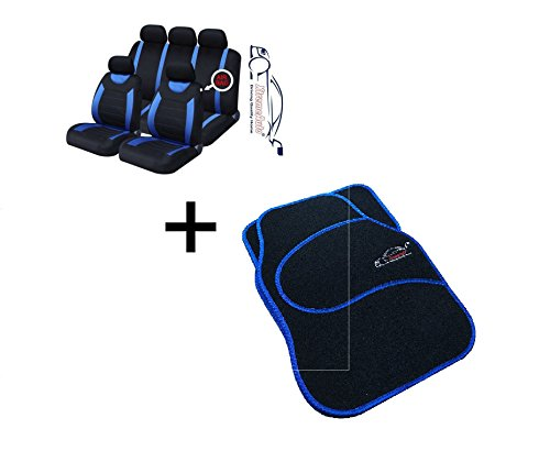 XtremeAuto® 9 PCE Sports Carnaby Blue / Black Seat Covers + Matching Mat Set Complete with Sticker