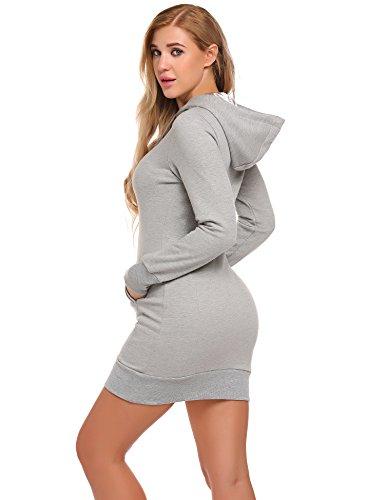 Meaneor Damen Winter Herbst Kapuzenpullover Pullover Sweatshirt Langarm Rundhals mit Taschen Hoodie long unifarben Grau