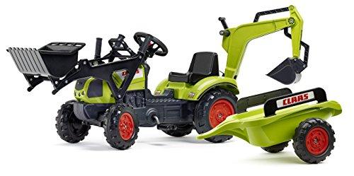 falk claas traktor Falk nbsp;–2040N–Outdoor-Spielzeug–Baggerlader Claas Arion 410+ Anhänger + Baggerschaufel