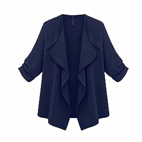 irina 2017 Femmes Automne Manteau en vrac à manches longues Cardigan Grande taille (4XL, Marine)