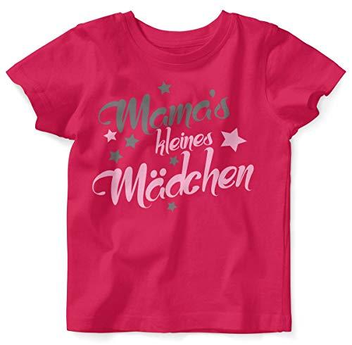 Mikalino Baby/Kinder T-Shirt mit Spruch für Jungen Mädchen Unisex Kurzarm Mamas kleines Mädchen | handbedruckt in Deutschland | Handmade with Love, Farbe:himbeerpink, Grösse:104 (Mama Kleinkind Kostüm)
