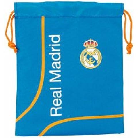 Real Madrid - Saquito para merienda, 20 x 25 cm, color azul (Safta 811456237)