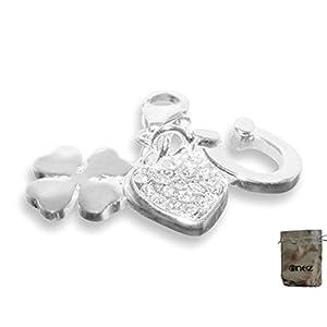 Enez Echt 925 Silber Anhänger Charms Charm Kleeblatt Herz (1,2 x 1,2cm) + Geschenkbeutel v441