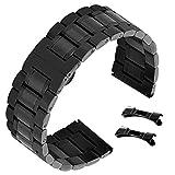 Bracelet Montre en Acier Inoxydable Noir pour Bracelet de Mens de 23mm