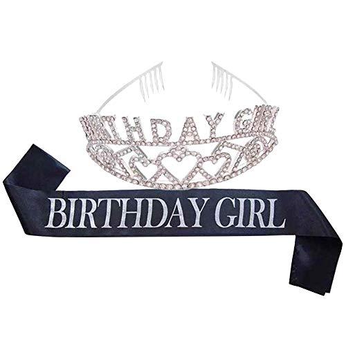 Geburtstag Braut Krone - Geburtstag Mädchen Schultergurt Etikette Stirnband - zeremonielle Tiara und Schärpe Set Partei Legierung Strass Braut Stirnband -1 Set