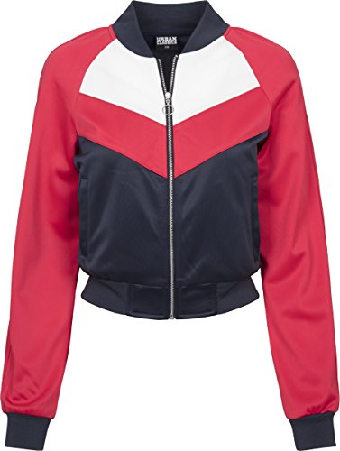 Urban Classics Damen Sweatjacke Ladies Short Raglan Track Jacket, Mehrfarbig (Navy/Fire Red/White 01224), Small (Womens Raglan Navy)