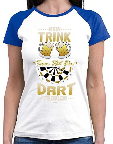 HARIZ  Damen Baseball Shirt Mein Trink Team Hat EIN Dartproblem Dart Sprüche Dartscheibe Weltmeisterschaft Plus Geschenkkarten White/Royal Blue XL