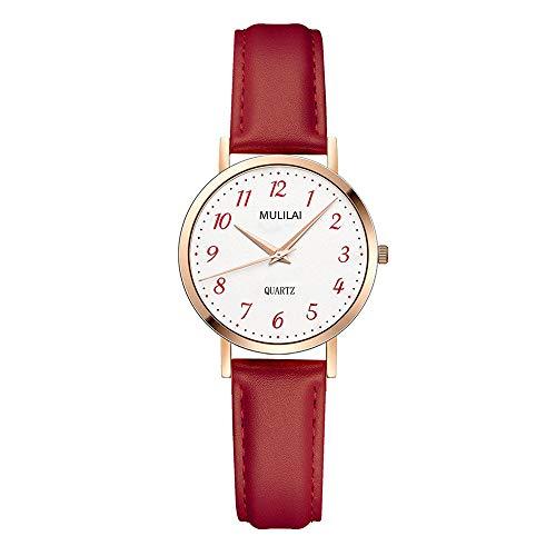 Relojes Pulsera Clásico Número Arábigos Analógico Relojes Mujer Cuero Oro Rosa Casual, Rojo
