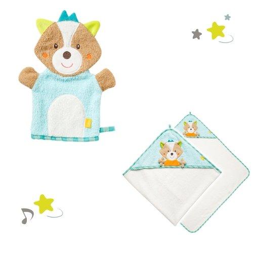 Baby Fehn Badeset Fuchs Sleeping Forest Waschhandschuh und Kapuzenbadetuch