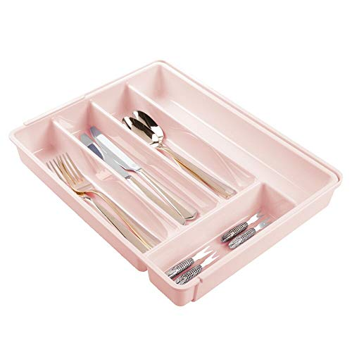MDesign Cubertero de plástico libre de BPA extensible para cajones y muebles de cocina - Organizador...