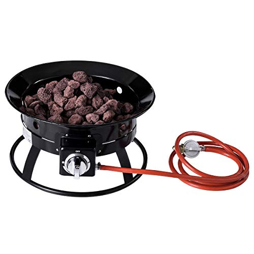 COSTWAY Outdoor Gas Fire Pit, Portable 58,000 BTU Propane Patio Heater with Hose, Lava Rocks & Handheld Base, 48cm Diameter BBQ Firepit Bowl for Garden, Camping