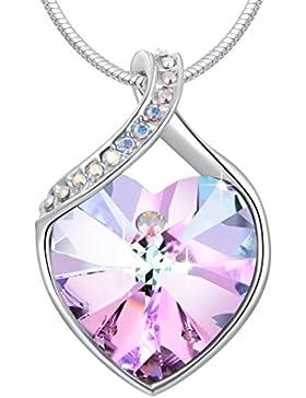 Le Premium® 'Bleibe die Liebe' Herz Anhänger Halskette Hergestellt mit Herz geformten Kristallen aus Swarovski...