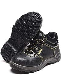 Adong Hombres Cuero Trabajo Seguridad Zapatos Transpirable Slip Prueba de Acero Puntera para policía Militar Carretera