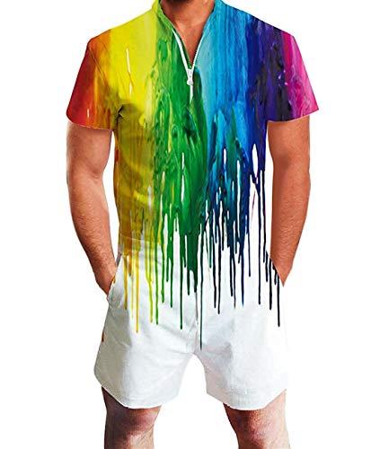 Fanient Herren Jumpsuit Regenbogen Herren Kleidung Kollektion Strampler Tie Dye Grafik Overalls Einteilige Badehose Hosen und Hemden Outfits