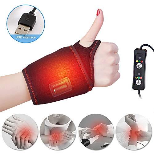 Vuffuw Handgelenkschiene Karpaltunnelsyndrom, USB Beheizte Handgelenkstütze, 3 Temperatureinstellung Beheizte Handgelenk Hand Unterstützung für Karpaltunnel, Arthritis, Sehnenentzündungen -