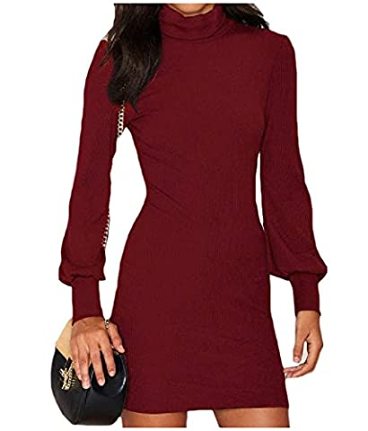 Tootlessly Women's Stylish Turtleneck Solid Colored Knit Cocktail Dress Red S