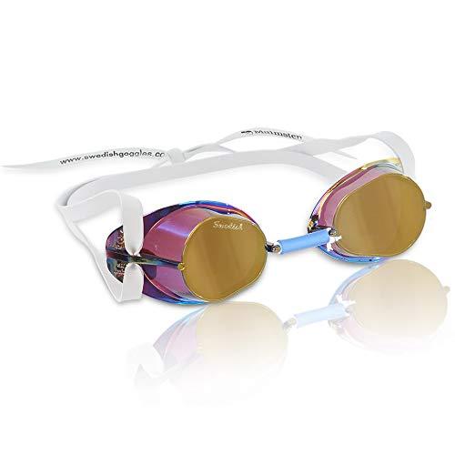 Beco Unisex- Erwachsene Schwedenbrille, verspiegelt-99222, Gold, One Size
