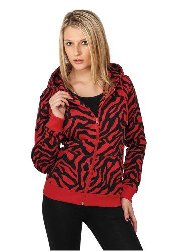 Sweat-shirt à capuche pour femme Urban Classics Zebra Ziphoody 3 Couleurs Rouge/Noir