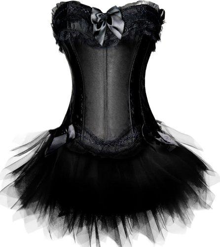 Mit Korsett Schwarzen Einem Kostüme (TDOLAH Vollbrust Korsagenkleid mit Tutu in schwarz/rot/weiß Korsett (EUR42/3XL,)