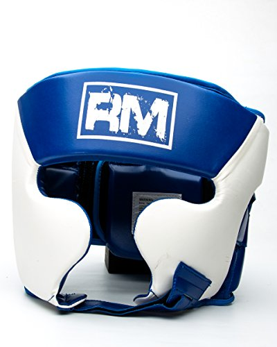 ringmasteruk Boxen Kopfschutz Kunstleder weiß blau