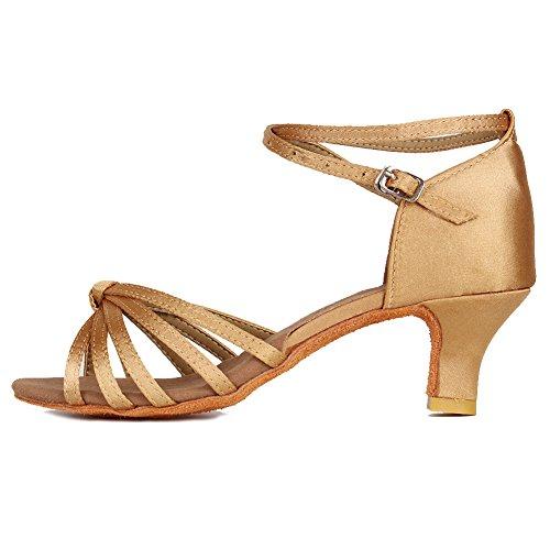 YKXLM Mujeres&Niña Zapatos latinos de baile Zapatillas de baile de salón Salsa Performance Calzado de Danza,ES217-5,Beige color,EU 37