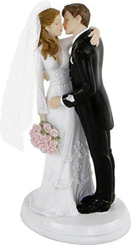 Brautpaar, Hochzeitspaar | Tortenaufsatz, Tortenfigur, Dekofigur, Cake Topper Wedding Hochzeit Trauung Hochzeitstorte | Küssendes Paar | 18 cm