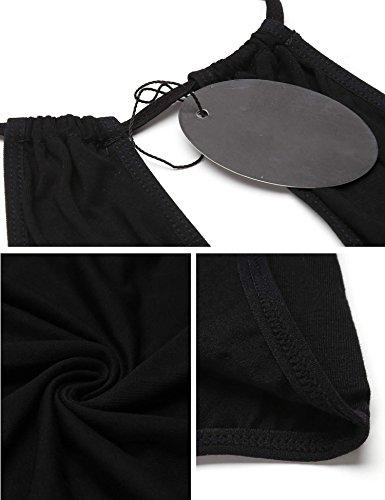 ADOME Damen One Piece Bodysuit Unterhemd aus Baumwolle elastisch Neckholder Body Dessous Schwarz
