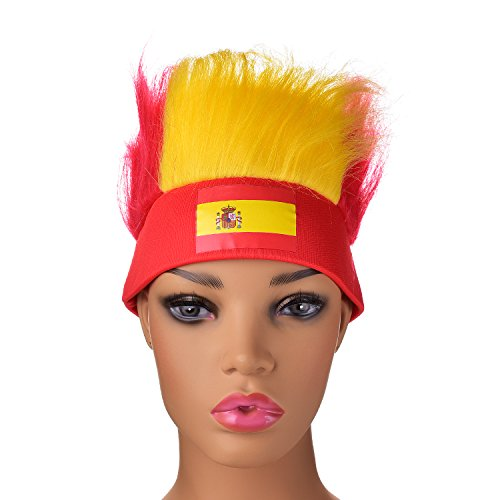 df1711ed736 Joseche Football Fan Hat 2018 Russia World Cup Football Fans Hat with National  Flag Colored Wig Headband Lightweight Sweat-wicking (Spain) - Buy Online in  ...