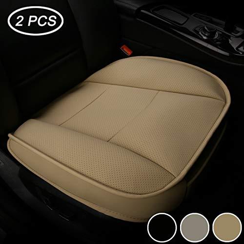 LUOLLOVE Coprisedili Universale Auto Anteriori Super Soft Confortevole Traspirante PU Protezione per Sedile Auto (2 Pezzi Beige)