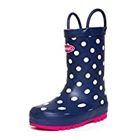 Chipmunks Girls Navy & Pink Pull On Welly