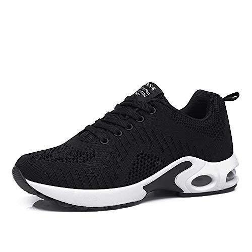 Basket Sneakers Femme pour Running Chaussures de Course Lacets Air Coussin 4cm Noir-1 39
