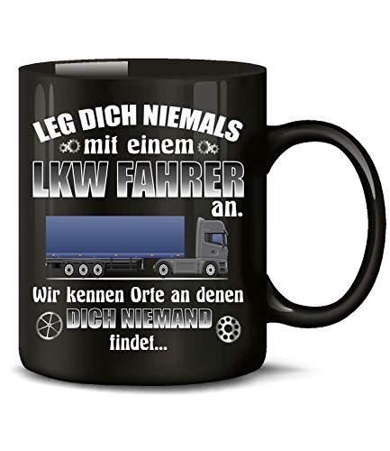 cht mit einem LKW Fahrer an 6400 Kaffee Tasse Becher Geschenk Berufs kraftfahrer Arbeits Kleidung Lastwagen Trucker Fern Schwarz ()