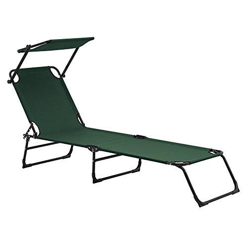 [casa.pro] Tumbona plegable 190cm verde oscuro con techo - aluminio - hamaca de playa, para jardín, silla reclinable piscina