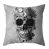 Corneliaa Halloween Skull Printed Fashionable Pillow Covers Home Office Bedroom Throw Pillowcase Decorative Pillow Cover