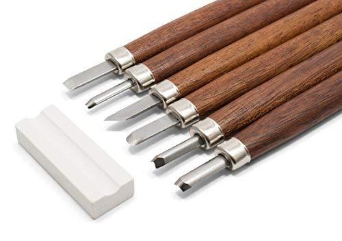 Holz-Schnitzwerkzeug Set - 6 Schnitzmesser inkl. robustem Etui, Abziehstein & Anleitung, von HOLZWURM