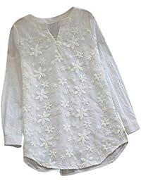 PAOLIAN Blusa Lino de Mujer Manga Largas Otoño 2018 Blusa Moda Señora Escote V Asimetricas Camisetas Costura Floral Ropa para Mujer…