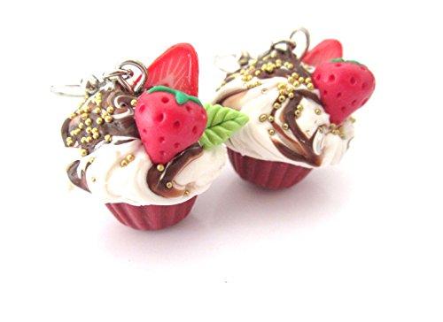 Schoko Erdbeer Ohrringe Ohrhänger Cupcake Ohrschmuck