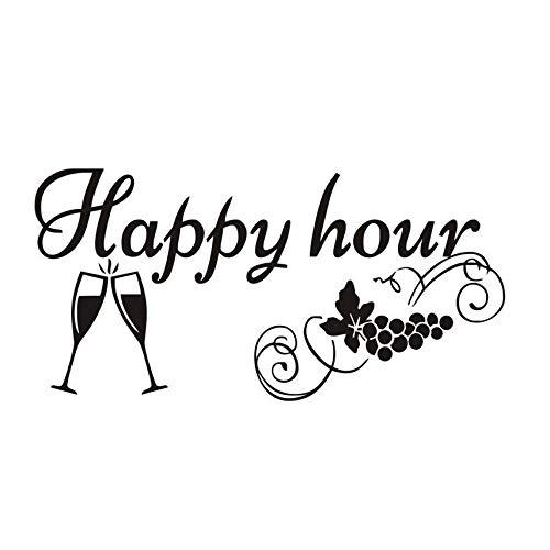 Wandaufkleber Fabrik Preis Küche Tafel Aufkleber Happy Hour Trauben Weingläser Decor Tafel Abnehmbare Wasserdichte Vinyl Wandaufkleber 59X29 Cm