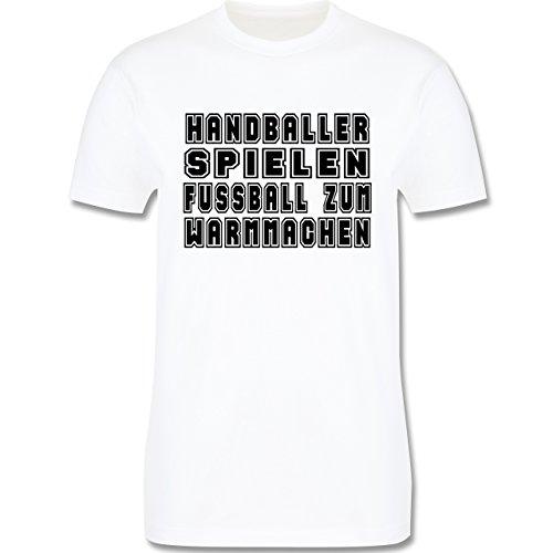 Handball - Handballer Spielen Fußball Zum Warmmachen - Herren Premium T-Shirt Weiß