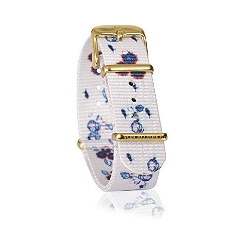 Hochwertiges 18mm Uhren-Armband für die Uhr Nato Strap – weiß, weiß geblümt – Länge 26 cm – Uhrenband aus 100% Nylon by VON FLOERKE