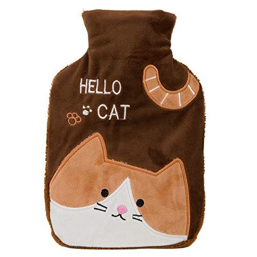 Meigold 1 Stück Brown Wärmflasche Plüsch Gummi Cat Wärmflasche 1 Liter mit Bezug Handwärmer warme Tasche Wintergeschenk Size 24 * 16.5CM (Brown)