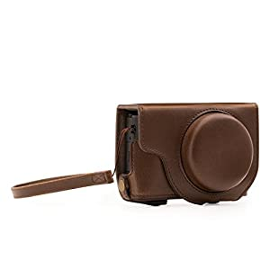 MegaGear Panasonic Lumix DMC-LX10 Ever Ready Leder Kamera-Case mit Trageriemen und Batteriezugang Dunkelbraun MG1133