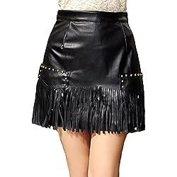 Helan Mujeres Las faldas de cuero del remache de la vendimia de la alta cintura de la borla de la PU